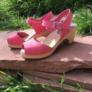 Pink Suede Peep Toe Clogs